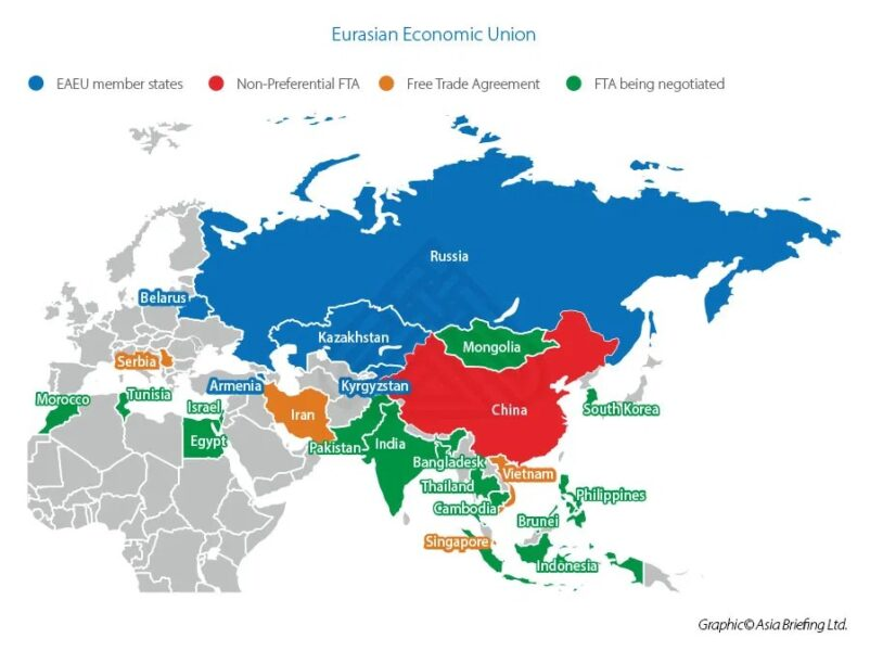 The Eurasian Economic Union is a regional treaty signed in 2014 by the leaders of Russia, Kazakhstan and Belarus.