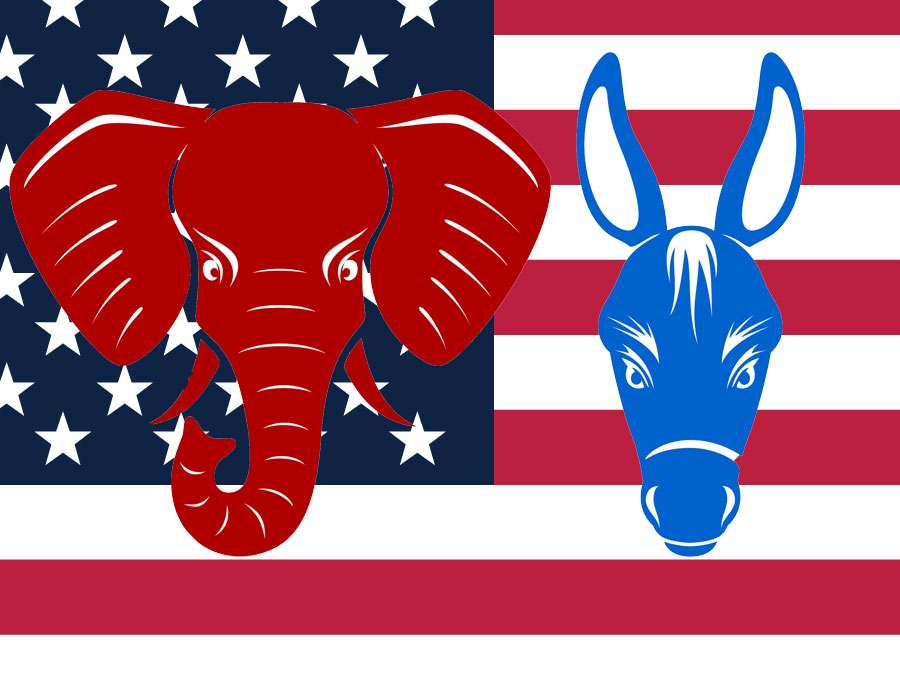 Divergence fractions within the Democrats and Republicans with divergence of tastes in the two parties